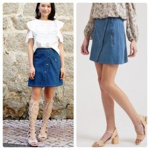 J.O.A. Asymmetric Front Snap Denim Skirt NWT sz L